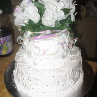 Wedding Cake 1 This is my very first wedding cake, that I threw together in 4 hours for my cousin's shotgun wedding. I think I did pretty good for 4...