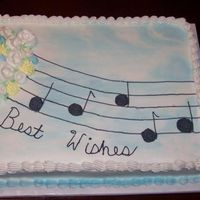Music Did this for our choir director at church who stepping down from the position. First cake I have done with flowers without someone next to...