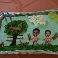 Husband's Birthday Cake (Childhood Theme) - Building Tree Forts With A Childhood Friend