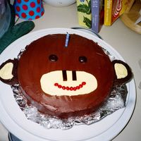 "Monkey Cake! This is a variation on the Martha Stewart monkey head cake. It's simply two 9"" round chocolate cakes stacked with banana pudding..."