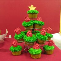 Christmas Tree Cupcakes This was a little idea I thought of for the same last minute order! Very quick and easy and they seemed to love them! TFL!