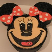 Minnie Mouse! This was a Minnie Mouse cake similar to the Mickey Mouse cake I've done for a little girl's first birthday