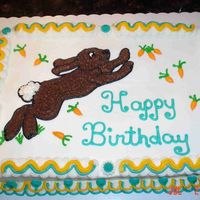 Happy Birthday I made this cake for a dear co-worker that doesn't like rabbits. They keep eating his garden plants. It is a cherry chip with...