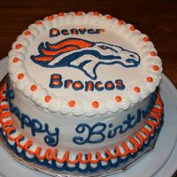 Denver Broncos My nephew loves the Broncos. Yellow cake with cherry filling.