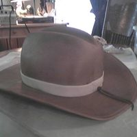 Cowboy Hat   WASC cake crumb coated and filled with buttercream. Covered with fonfant and fondant brim. Airbrushed finish.