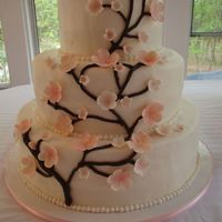 Cherry Blossom Wedding Cake  This is my first wedding cake. It was made for my niece's wedding. WASC, buttercream frosting with cherry-nut filling. fondant...