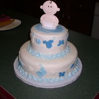 Baby_Shower2.jpg   WASC Cake covered with MMF and MMF decorations. Wilton Baby Cake Topper. This is my take of Wilton's Baby Clothesline Cake.