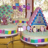 Candyland Chocolate chip pound cake with IMBC. Fondant decorations on the cakes and gumpaste house, tree, girl and name.