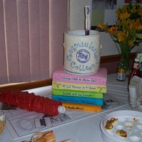 Interior Designer Graduation Top two books and the paint can are cake. The paint stick was attached to a motor to 'stir' the paint. RKT and modeling chocolate...