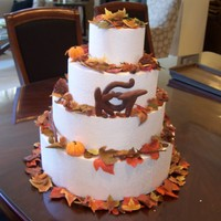 Fall Leaves These are the decorations I did for a wedding cake. This is a dummy cake and the caterer will add them to their cake. There are leaves,...