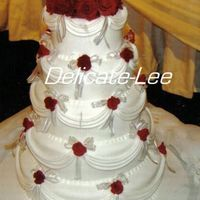 Melissa I did this cake for my best friend :) Fondant icing, drapes and fondant roses.