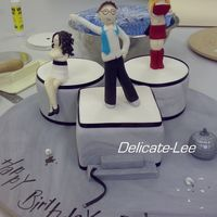 Do Feel Like Dancing! This cake I did for my boss. He is the one dancing (looks like harry potter haha) and his wife (thats not happy) on the left. Figurines and...