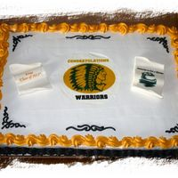 Middle School Grad Cake This was a full sheet 16x24 1/2 chocolate and 1/2 white cake. One big cake! My first full sheet! Edible art and gum paste figures. The...
