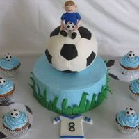 Will's 8Th Birthday Rice Krispie w/fondant Soccer ball. Boy and grass are fondant. Thanks to Helipops for the grass idea.