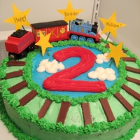 Thomas The Train Cake Thomas the train cake for son's 2nd birthday. Chocolate mint cake frosted with buttercream, hershey's chocolate bar rails, real...