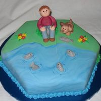 Fishing  I made this cake today for my friend's son's fourth birthday. He loves fishing, and therefor my friend asked me to make a cake...
