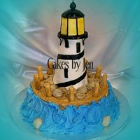Lighthouse I made this cake for my friend's birthday. Lighthouse is rice crispy treats covered in fondant. I had a really hard time with this one...