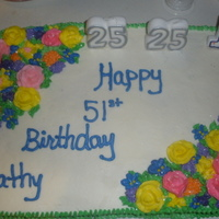 51St Flower Birthday Cake   half chocolate half vanilla. all buttercream. all flowers are buttercream. thanks for looking