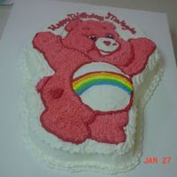 """cheer Bear Care Bear"" Birthday Cake I did this cake for a dear friend. Her daughters 1st birthday cake! Yum! It was chocolate with the wonderful icing that turned out so sweet..."