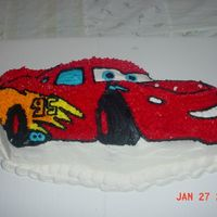 """lightin' Mcqueen"" Cake  I bought the wilton cake pan, and decorated to the way I thought it should be done. I gave this to a friend for her sons 6th birthday party..."