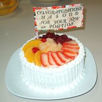 "Fruit Cake 6"" round cake with lots of fruit, three layer white cake with whipped cream and strawerries filling."