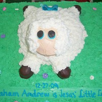 Jesus' Little Lamb This was a marble cake with a yellow flavored lamb. All was frosted in Extra Special Buttercream with marshmallow fondant accents. This was...