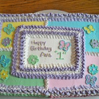 1St Birthday, Spring, Flowers, Butterlies This was a Chocolate half sheet cake with Bettercreme Frosting. This was for a Spring themed (flowers and butterflies and spring colors)...
