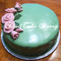 Tru-Green Chocolate cake w/chocolate fudge filling, chocolate buttercream, and completely covered in chocolate fondant.