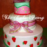 Jordan I cake I made for my god-daughters babyshower. She wanted a strawberry shortcake themed cake, but elegant. So this is what I came up with....