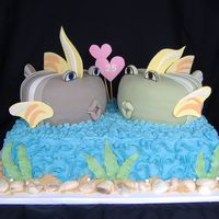 "Anniversary Fish I got the inspiration for this cake from islandije's valentine cake. This was for a 25th anniversary. The fish are 2 8"" round..."