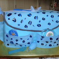 Blue Leopard Diaper Bag ok so this was my second EVER cake disaster!!! thank God i snapped this picture...i had planned on taking the finished product once i got...