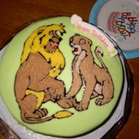 Simba & Nala Birthday Cake This was for a friend's kids 7th birthday. She asked for Simba and Nala when they were teenagers. This was the best I could come up...