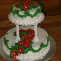 Poinsettia Christmas Cake Fun Cake I did for Christmas. Buttercream Icing and Royal icing poinsettias