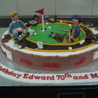 Golfer And Cyclist  This was a cake shared by a golfing father and a cycling son in law. only way I could think of linking them together was to have the golfer...