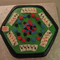 Poker Table Cake This is a cake that I made with inspiration from one of the Wilton Yearbooks for a friend's husband as a wedding gift. Covered and...