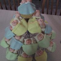 Baby Cupcakes From the '06 Wilton yearbook. So much fun! Heads, bodies, pillows and blankets are all fondant. Iced in buttercream, then covered in...