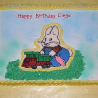 Max From Nickelodeons' Max & Ruby lemon/lime cake with pineapple filling and whipped cream frosting. bct of Max.
