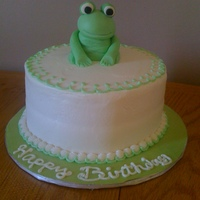 Frog Cake My first fondant figure.....it was for my mom ( she LOVES frogs). The cake is pink champagne with buttercream icing