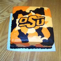 Osu Camo 2 layer square orange cake with bc icing.