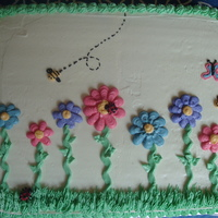 Spring Birthday Cake   Piped buttercream flowers & insects