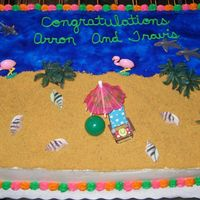 Beach Scene  This cake was done for a couple that got married on the beach in Florida. The bold colors on the border were their wedding colors. I used...