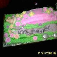 Sisters Baby Shower Cake   this was for my sisters baby shower. the nipple, banner and rattle are fondant.
