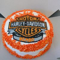 Harley Davidson Birthday Cake This was my first attempt at a FBCT, the black bled a little, but it was way easier than doing it freehand!