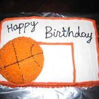 Basketball Birthday Cake   Real simple birthday cake. 9x13 cake and half of a ball cake. Stars all over ball cake for bball.