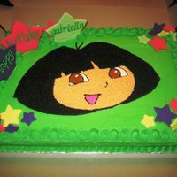 Happy Birthday Gaby!  Sheet cake with bright green BC icing. Made the stars with fondant couples days in advance. Went to http://www.nickjr.com/party/cake_finder...