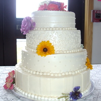 4 Tier With Bright Flowers