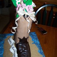 Cowboy Boot made this for an anniversary. white cake with butter cream and carmel filling with pecans. my first shoe let alone boot. styrofoam heal and...