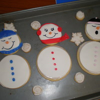 Snowmen trying to use scrap fondant and also make cookies for the neighbors and teachers