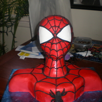 Spiderman thanks to all that helped with this. all of cc members are inspiration. the head is a wig head covered with fondant with fondant accents....