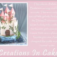 Castle Cake  This is a white cake with white buttercream and fondant accents. It was later decorated with the disney princesses. Ariel was this little...